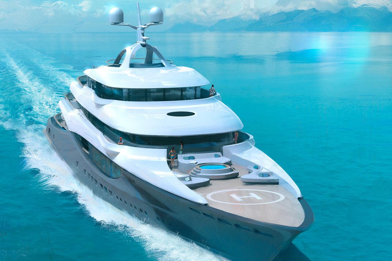 Fincantieri 90M Superyacht Linea - Bow View