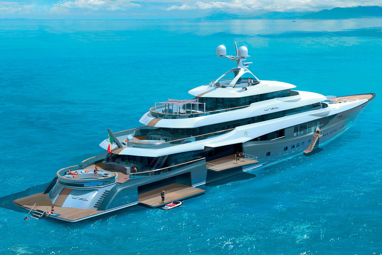 Fincantieri 90M Superyacht Linea - Side View