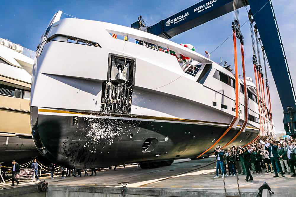 Rossinavi mega yacht AURORA Launch