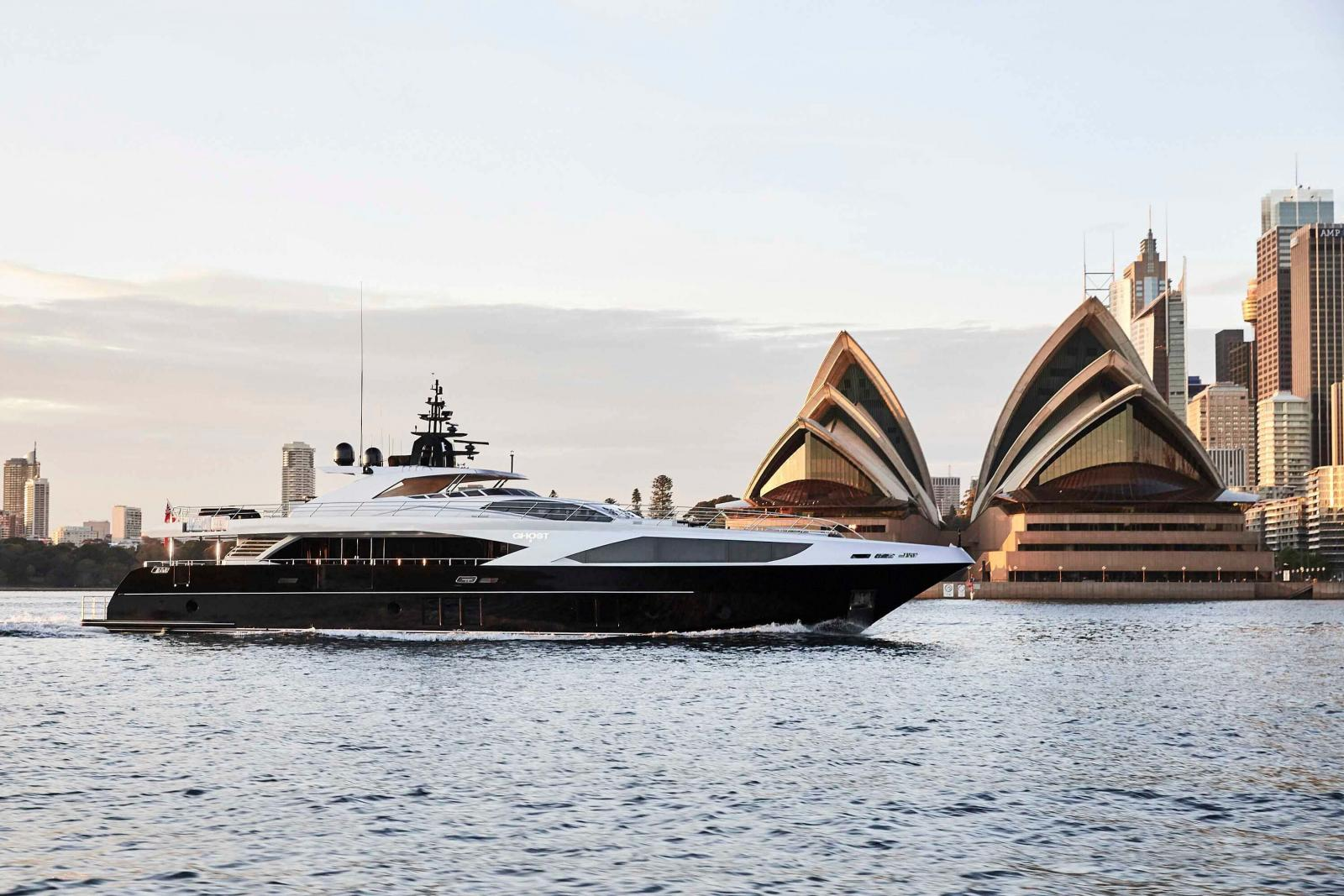 Gulf Craft Majesty 122 MY Ghost II the Largest Superyacht at Sydney International Boat Show
