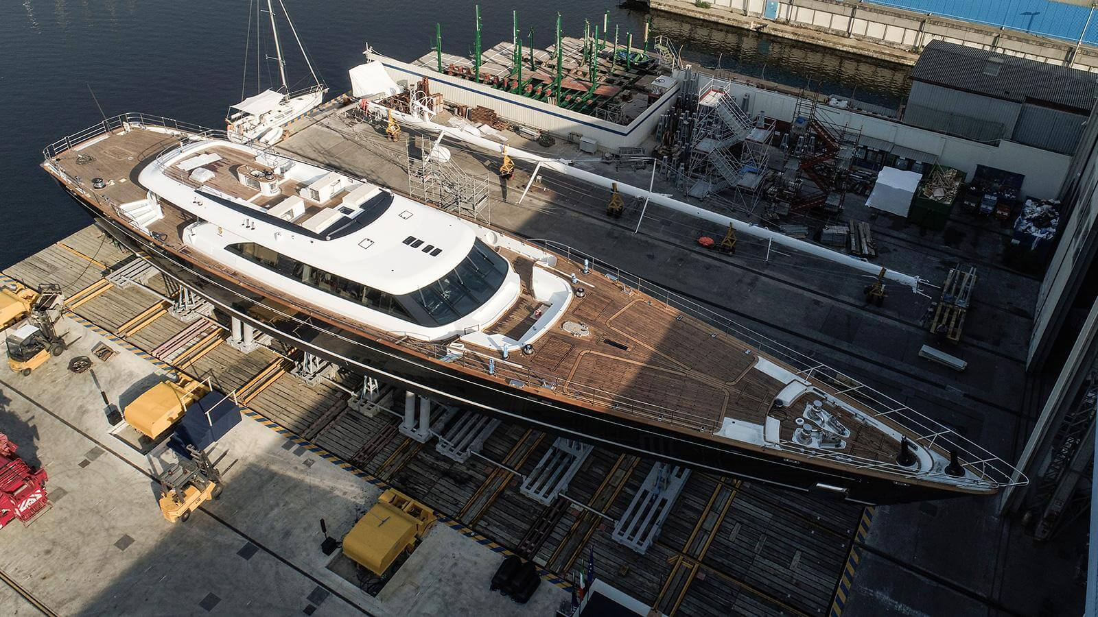 Perini Navi Sailing Yacht Seven Launched Aerial View