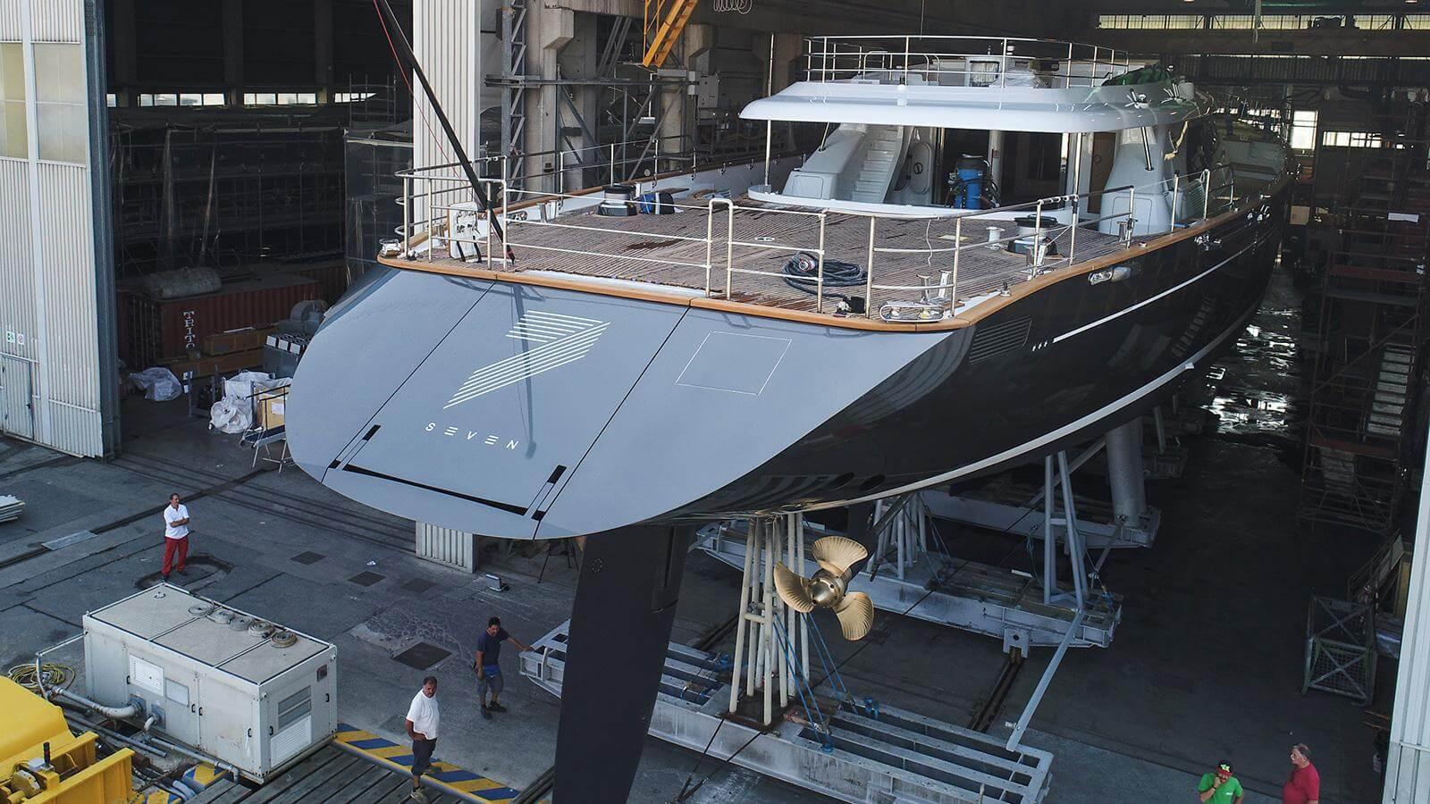 Perini Navi Sailing Yacht Seven Launched Transom